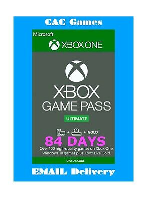 Xbox Game Pass Ultimate (Xbox Live+Game Pass) 3 months (84 days) 6x14 day codes