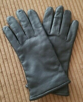 Samco Leather Gloves Black Size 7 Ex Condition Wool/Polyester Lined