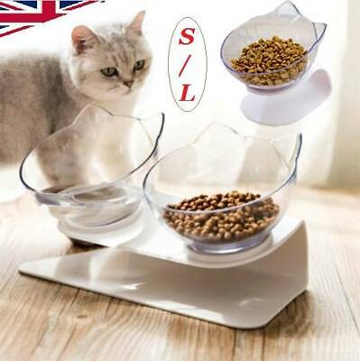 Non-slip Cat Double Bowls w/Raised Stand Pet Food Bowl Cats Dog Water Feeder UK