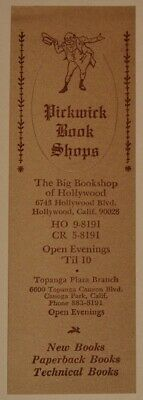 Vintage Pickwick Bookshop Book Store Advertising Bookmark~Hollywood California