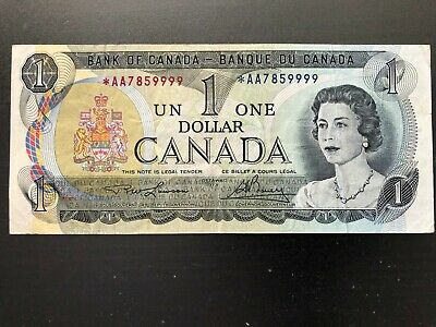 Very Rare 1973 Canadian Lawson & Bouey *AA Replacement $1 One Dollar Banknote