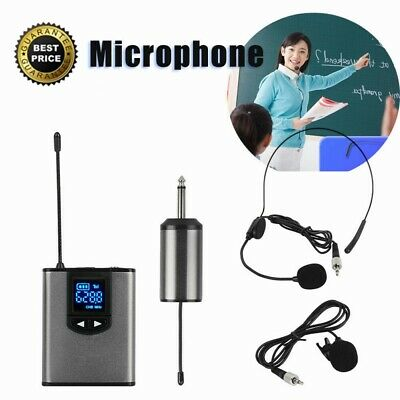 "Wireless System + Dual Headset Lavalier Microphone 1/4"" For Audio Loudspeaker HK"