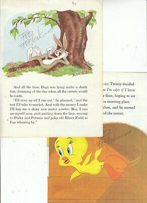 2 PC : FRIZ FRELENG SIGNED Bugs Bunny & Tweety book pages