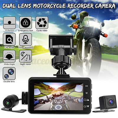 3'' LCD Motorcycle HD DVR Dash Cam Front & Rear Video Recorder Camera Dual Lens