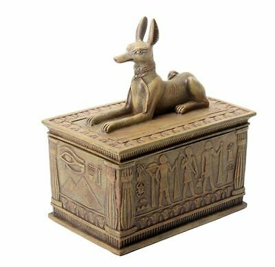 Ancient Egyptian Sandstone Anubis God of the Afterlife Small Jewelry Trinket Box