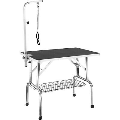 Grooming Table with Arm Basket Dogs Cats Pets Robust Steel Collapsible Non-slip