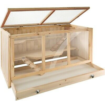 Rodent Cage Hamster Hutches Small Animals Villa Enclosure Wooden Outdoor New