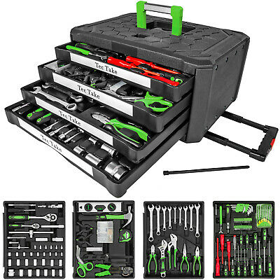 300 pc tool box with tools kit storage mobile trolley on wheels with 4 drawers