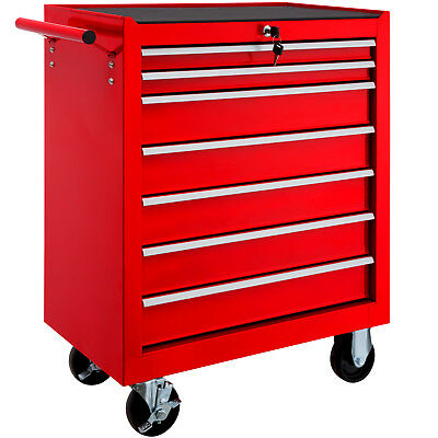 Tool cabinet cart workshop wheel trolley tray ball bearing slides 7 drawer red