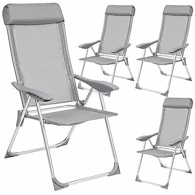 Set 4 Aluminium folding garden chairs outdoor camping patio furniture silver new