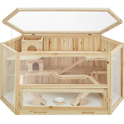 Hamster Cage Levels Rodents Small Animal Pets Wood Mice Mouse Hutches Outdoor