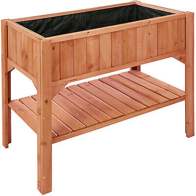 Raised Plant Bed Shelf Garden Wooden Box Flowers Herbs Vegetables Outdoor Patio