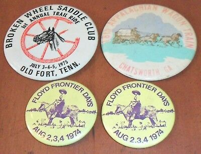 4 TRAIL CLUB BUTTONS From 1974, 1975, 1977 Georgia & Tennessee
