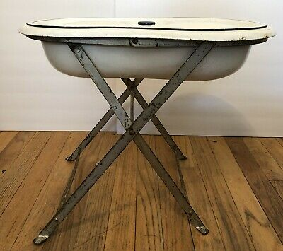 Antique French Enamelware Porcelain Baby Bath Tub with Stand and Lid