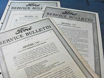 Ford Service Bulletins 1929 Taxi Model A