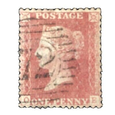 GREAT BRITAIN, SCOTT # 33, 1p. VALUE QV ROSE RED PLATE # 147 1864 ISSUE USED