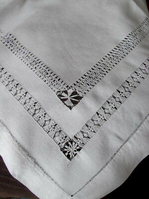 Antique White Drawnwork Parlor Tea Luncheon Tablecloth~Fine Pulled Thread Work