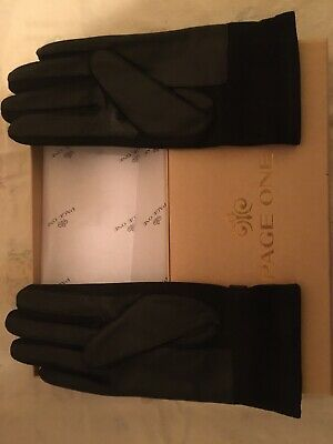 Brand New- PAGE ONE Women's Genuine Black Leather Driving Gloves in Small Size