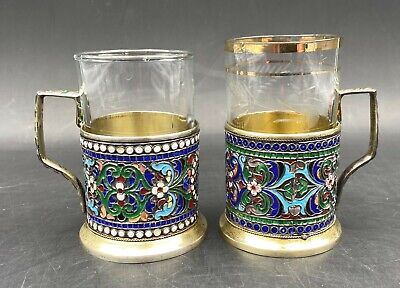 Two Elegant Antique Russian Style Silver Gilt & Cloisonné Enamel Tea Cups #1