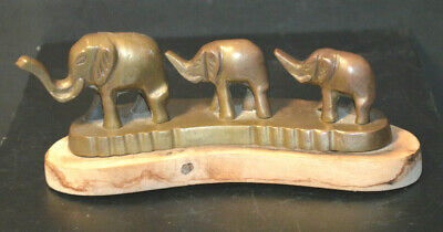Vintage Brass Elephants Made In India Mounted On Wood Base
