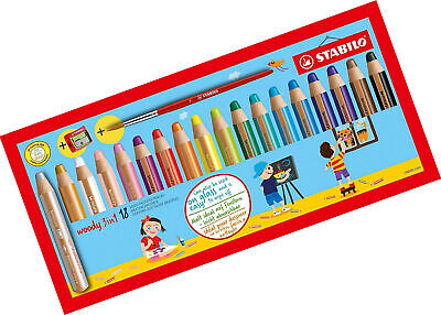 Multi-talented Pencil STABILO woody 3-in-1 box set of 18 assorted colours + and
