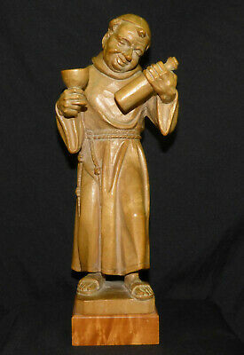 "Vtg Alfons Herr Black Forest Germany 10 1/2"" Wood Carving Monk w/ Wine Bottle A"