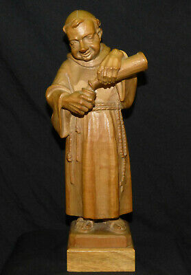 "Vtg Alfons Herr Black Forest Germany 10 1/2"" Wood Carving Monk Pouring Wine B"