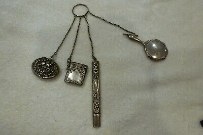 Vintage Sterling Silver Chatelaine With 4 Appendages 8  Inches in Length