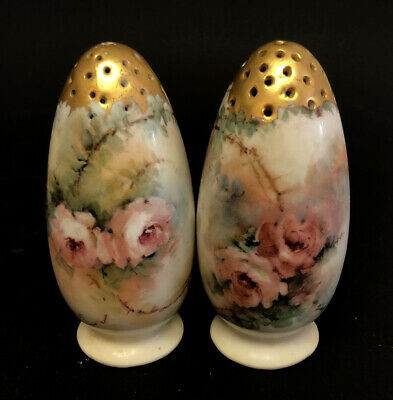 Pair Of HC Royal Salt & Pepper Shakers Porcelain Painted Flowers