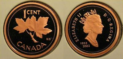 1952 2002 Canada Frosted One Cent Penny Proof