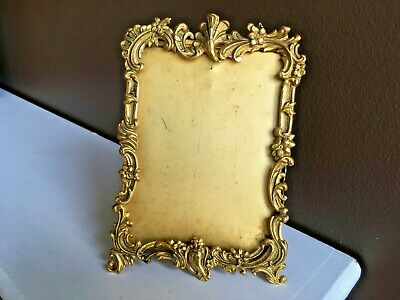 Circa 1900 Antique Late Victorian Gilded Pressed Tin Easel Picture Frame  4 by 6