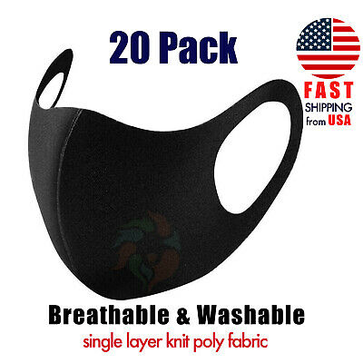 [20 PACK] Black Face Mask Breathable 1-LAYER Knit Fabric Mouth Cover Laser Cut