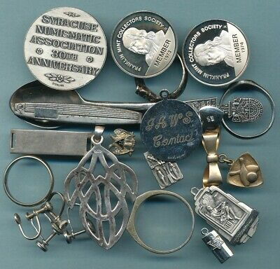 3 Troy Ounces of Sterling .925 Silver 94 Grams Rings, Medals, Pins Etc.FREE SHIP