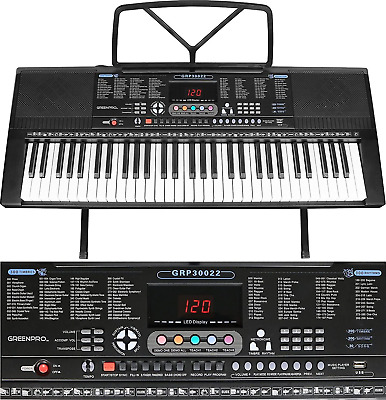 GreenPro 61 Portable Electronic Piano Keyboard LED Display w/ Adjustable Stand