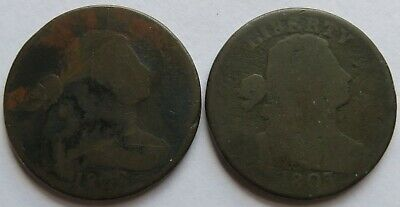 1802 + 1803 Draped Bust Large Cents, Classic Early Date 1C Penny coins (191940G)