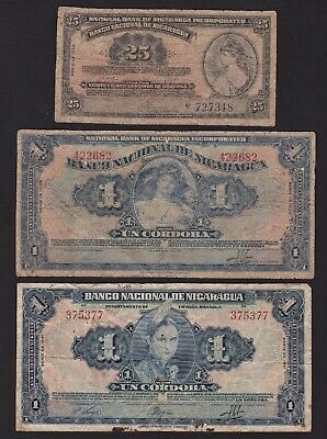 Lot Of Three Vintage Nicaragua Notes