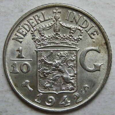 Netherlands East Indies 1942-S Silver 1/10Th Gulden Coin (Km# 318)