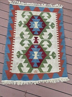 """Authentic Hand Knotted Traditional Turkish Wool Kilim Area Rug 54""""x37"""""""