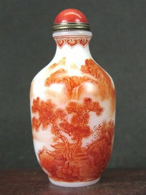 Excellent Chinese Person Scenery Hand Painted Peking Enamel Glass Snuff Bottle