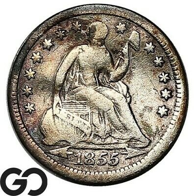 1855 Seated Liberty Half Dime, Arrows, Collector Type Coin