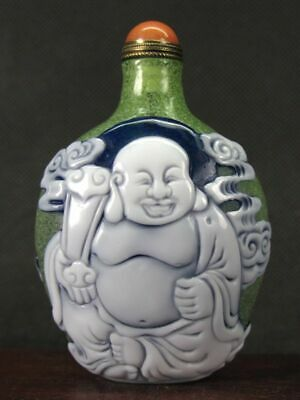Chinese Two Buddhism Carved Peking Overlay Glass Snuff Bottle