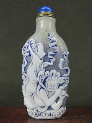 Chinese Fairy Carved Peking Overlay Glass Snuff Bottle