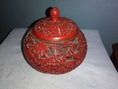 Chinese Antique carved cinnabar lacquered pot.