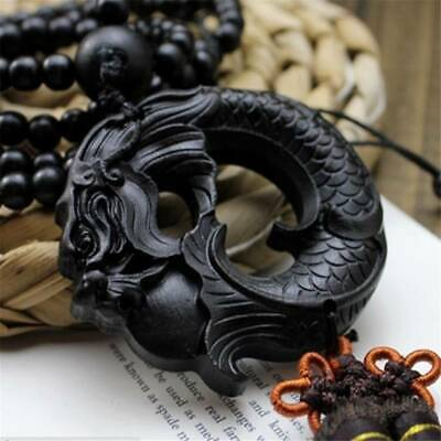 Ebony Wood Carving Chinese Dragon Fengshui Sculpture Prayer Car Pendant Jewelry.