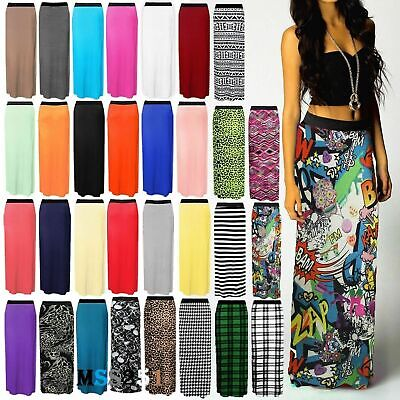 Womens Ladies Printed Jersey Long Maxi Skirt Gypsy Stretchy Skirt Size 8-26