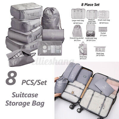 8X Packing Cube Pouch Suitcase Clothes Storage Bags Travel Luggage Organiser AU