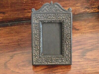 Antique Wooden Photo Frame Free Standing Carved Floral Rectangular Bog Oak?