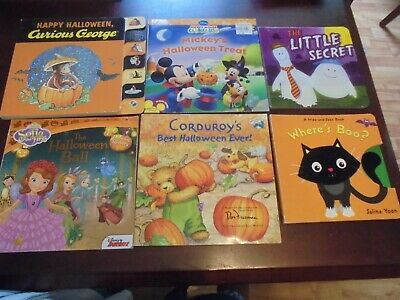 Children's Kids Halloween Book Lot of 6 Sophia, Mickey, Curious George, Corduroy