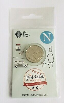 2018 Royal Mint New Uncirculated 10p Coin Letter N (NHS) in a Sealed Pack