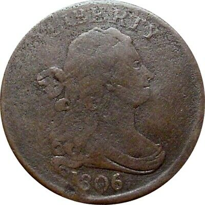 1806 Draped Bust Half Cent--Fine Details--Small 6, Stems--Hard To Find